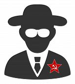 Kgb Spy Vector Icon. Flat Kgb Spy Symbol Is Isolated On A White Background. poster