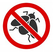 No Fly Insect Vector Icon. Flat No Fly Insect Pictogram Is Isolated On A White Background. poster
