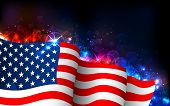 stock photo of flag pole  - illustration of American Flag on abstract glowing background - JPG