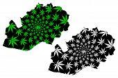 West Kazakhstan Region (republic Of Kazakhstan, Regions Of Kazakhstan) Map Is Designed Cannabis Leaf poster