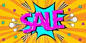 Sale. Pop Art Splash Background. Explosion In Comics Book Style. Advertising Signboard, Price Reduct poster