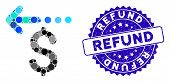 Mosaic Refund Icon And Rubber Stamp Seal With Refund Caption. Mosaic Vector Is Created With Refund I poster