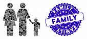 Mosaic Family Icon And Grunge Stamp Seal With Family Text. Mosaic Vector Is Designed With Family Ico poster