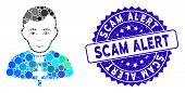 Mosaic Catholic Priest Icon And Grunge Stamp Seal With Scam Alert Text. Mosaic Vector Is Designed Wi poster