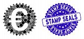 Mosaic Euro Warranty Stamp Icon And Rubber Stamp Watermark With Stamp Seals Text. Mosaic Vector Is F poster