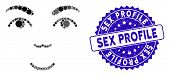 Mosaic Face Icon And Distressed Stamp Seal With Sex Profile Text. Mosaic Vector Is Composed With Fac poster