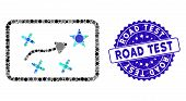 Mosaic Route Map Icon And Grunge Stamp Seal With Road Test Phrase. Mosaic Vector Is Formed With Rout poster