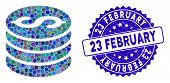 Mosaic Dollar Coins Icon And Grunge Stamp Seal With 23 February Text. Mosaic Vector Is Formed From D poster