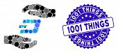 Mosaic Dash Care Hands Icon And Grunge Stamp Seal With 1001 Things Phrase. Mosaic Vector Is Composed poster