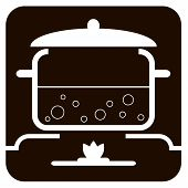 Food Is Cooked In A Pan On A Gas Stove. Graphic Image On A Black Background. Boiling Food On A Gas-c poster