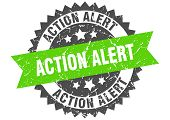 Action Alert Grunge Stamp With Green Band. Action Alert poster