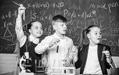 Chemistry Equipment. Chemistry Education. Happy Children. Chemistry Lesson. Students Doing Biology E poster