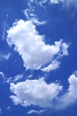 Vertical Image Of Pure White Cumulus Clouds Floating On Vibrant Blue Sky poster