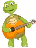 Cartoon Charakter lustige Schildkröte isoliert auf weißem Hintergrund. Gitarrist. Vektor-Eps 10.