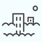 Pollution Line Icon. City With Co2 Emissions Vector Illustration Isolated On White. Town In Smog Out poster