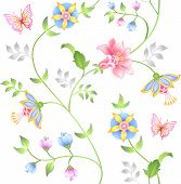 Decor seamless floral elements set