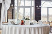 Table Set For An Event Party Or Wedding Reception. Banquet Table Design. Festive Table Setting. Glas poster