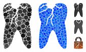 Caries Mosaic Of Round Dots In Different Sizes And Color Hues, Based On Caries Icon. Vector Dots Are poster