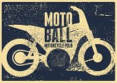 Motoball, Motorcycle Polo Typographical Vintage Grunge Style Poster. Retro Vector Illustration. poster