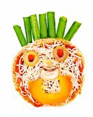 Healthy children's snack pizza with pasta sauce, cheese and vegetables on an English muffin in the s