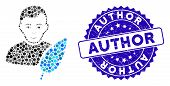 Mosaic Feather Writer Icon And Grunge Stamp Seal With Author Text. Mosaic Vector Is Formed With Feat poster