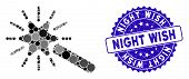 Mosaic Wand Magic Tool Icon And Rubber Stamp Seal With Night Wish Text. Mosaic Vector Is Composed Wi poster