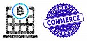 Mosaic Bitcoin Corporation Building Icon And Grunge Stamp Seal With Commerce Caption. Mosaic Vector  poster