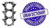 Mosaic Traffic Lights Icon And Rubber Stamp Seal With Urban Dictionary Text. Mosaic Vector Is Create poster