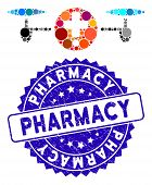 Mosaic Quadcopter Pharmacy Icon And Rubber Stamp Seal With Pharmacy Caption. Mosaic Vector Is Formed poster