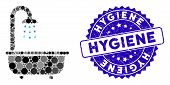Mosaic Bath Shower Icon And Grunge Stamp Seal With Hygiene Phrase. Mosaic Vector Is Created With Bat poster