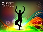 stock photo of sanskrit  - Female silhouette in yoga posture on colorful wave background - JPG
