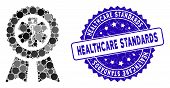 Mosaic Achievement Medical Seal Icon And Corroded Stamp Seal With Healthcare Standards Text. Mosaic  poster