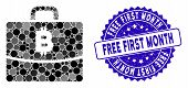Mosaic Bitcoin Accounting Case Icon And Rubber Stamp Seal With Free First Month Phrase. Mosaic Vecto poster