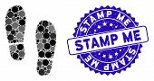 Mosaic Boot Footprints Icon And Grunge Stamp Seal With Stamp Me Text. Mosaic Vector Is Composed With poster