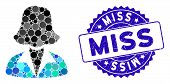Mosaic Office Lady Icon And Grunge Stamp Seal With Miss Caption. Mosaic Vector Is Composed With Offi poster