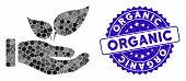 Mosaic Organic Supplement Hand Icon And Corroded Stamp Seal With Organic Phrase. Mosaic Vector Is De poster