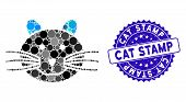 Mosaic Cat Icon And Grunge Stamp Watermark With Cat Stamp Text. Mosaic Vector Is Composed With Cat I poster