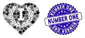 Mosaic Love Number One Icon And Distressed Stamp Seal With Number One Phrase. Mosaic Vector Is Creat poster