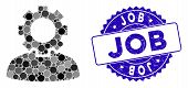 Mosaic Job Icon And Corroded Stamp Seal With Job Text. Mosaic Vector Is Formed With Job Icon And Wit poster