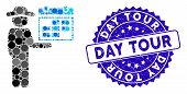 Mosaic Gentleman Schedule Icon And Corroded Stamp Seal With Day Tour Phrase. Mosaic Vector Is Design poster