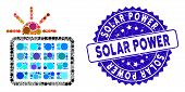 Mosaic Solar Power Icon And Rubber Stamp Seal With Solar Power Caption. Mosaic Vector Is Designed Wi poster