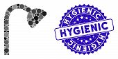 Mosaic Shower Pipe Icon And Rubber Stamp Seal With Hygienic Phrase. Mosaic Vector Is Formed With Sho poster