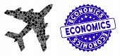 Mosaic Bomber Icon And Rubber Stamp Seal With Economics Caption. Mosaic Vector Is Formed With Bomber poster