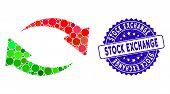 Mosaic Exchange Icon And Rubber Stamp Seal With Stock Exchange Caption. Mosaic Vector Is Composed Wi poster