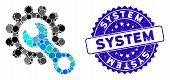 Mosaic System Tools Icon And Grunge Stamp Seal With System Phrase. Mosaic Vector Is Created With Sys poster
