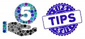 Mosaic Five Cents Payment Hand Icon And Rubber Stamp Seal With Tips Caption. Mosaic Vector Is Create poster