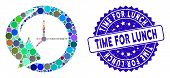 Collage History Icon And Rubber Stamp Seal With Time For Lunch Phrase. Mosaic Vector Is Created With poster