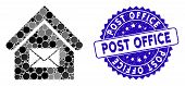 Mosaic Post Office Icon And Distressed Stamp Seal With Post Office Text. Mosaic Vector Is Created Wi poster