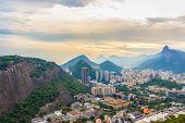 Rio De Janeiro Amazing View, Sugar Loaf Mountain, Urca Hill, Evening Clouds, Sunset. Buildings, City poster