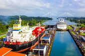 View Of Panama Canal From Cruise Ship At Panama. poster